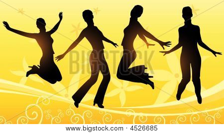 Jumping Girls Floral Vector