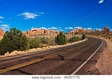 Desert Road in Arches National Park,Utah