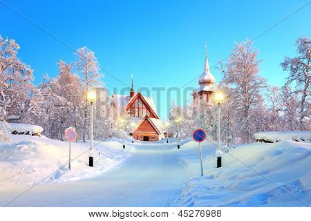 Kiruna cathedral Architecture at dusk, Lapland Sweden