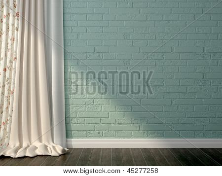 Blue Brick And Curtaince