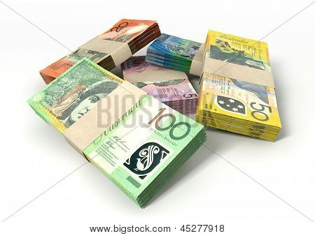 Australian Dollar Notes Bundles Stack