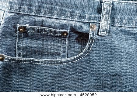Blue Jeans Pocket In Close-up