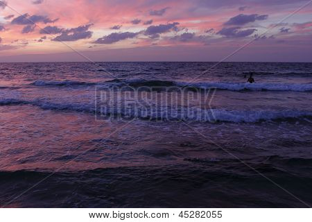 The Mediterranean in the light of the setting sun Netanya Israel