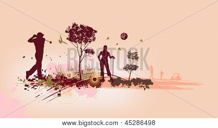 Golf Silhouettes In Pink Background