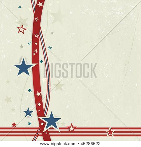 US american flag themed background, or card with wavy lines and stars in red and blue forming a patriotic border on a distressed, worn background.