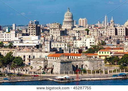 View of Havana featuring several well known landmarks on a beautiful summer day