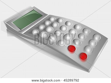 nonexistent calculator isolated on a gray background poster