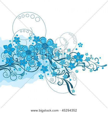 Turquoise flowers and swirls ornament on white isolated background. This image is a vector illustration.