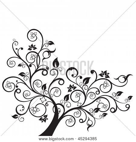 Flowers and swirls design element silhouette in black. This image is a vector illustration.