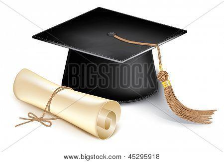 Graduation cap and diploma. Rasterized illustration. Vector version in my portfolio