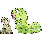 cartoon explorer and giant caterpillar poster