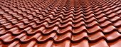 Orange wet roof tiles detail texture pattern poster