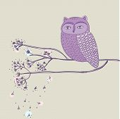 Cute violet owl on the tree branch poster