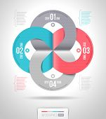 Abstract infographics template design with numbered paper elements - vector illustration poster