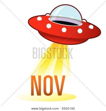 November Icon On Retro Ufo