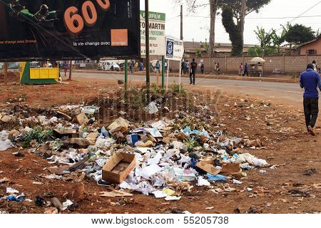 Garbage By The Road In Africa