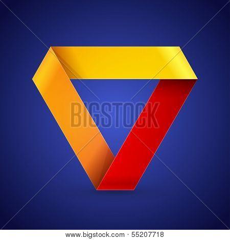 Moebius origami colorful paper triangle