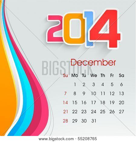 New Year 2014 December month calendar.  poster