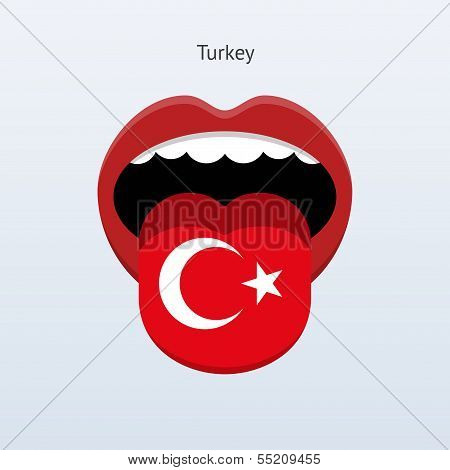 Turkey language. Abstract human tongue. Vector illustration. poster