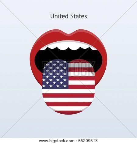 United States language. Abstract human tongue.
