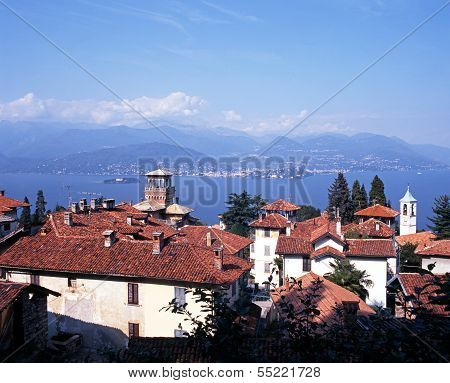 Town rooftops and Lake Maggiore, Stresa.
