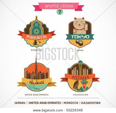 World Cities labels and icons - World Cities labels - Marrakesh, Tokyo, Astana, Dubai,