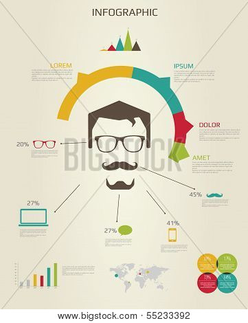 Hipster man infographic