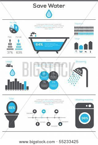 Save Water infographics.