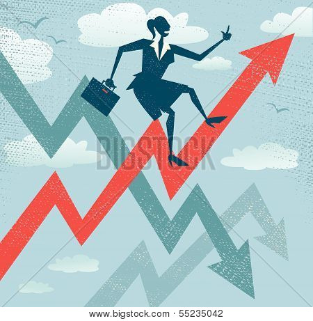 Abstract Businesswoman Climbs The Sales Chart