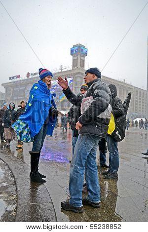 Kiev - Dec 06: People Communicate On Euro Maidan Meeting In Kiev, Ukraine On December 06, 2013.