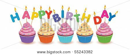 Birthday cupcakes isolated.Happy Birthday vector birthday card