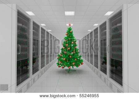 Data Center With Christmas Tree