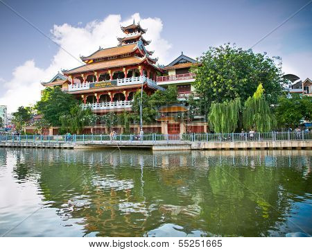 Chua Phap Hoa Temple by the Venerable Thich Thanh Dao or Temple of the Lotus in Ho Chi Minh, Vientnam.