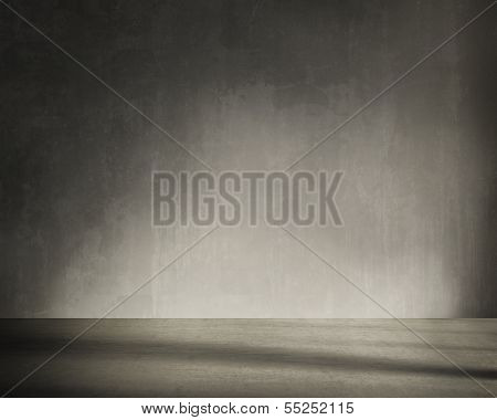 Grunge wall, vintage aged grey interior stained background