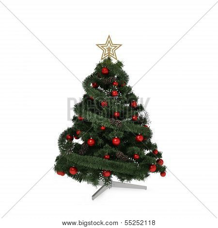 Isolated green Christmas tree with gold star and red balls