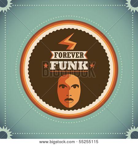 Retro funk poster. Vector illustration,