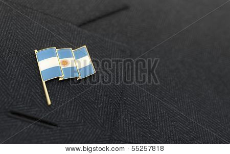 Argentina Flag Lapel Pin On The Collar Of A Business Suit