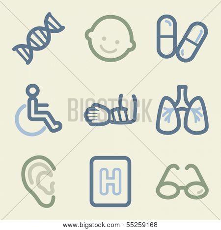Medicine web icons, money color set