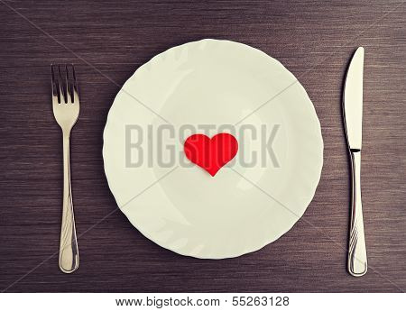 Plate, Fork, Knife And Red Heart