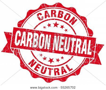Carbon Neutral Red Vintage Seal Isolated On White