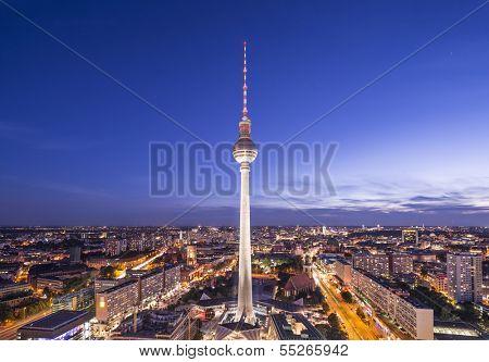 Cityscape of Berlin, Germany at Alexanderplatz.