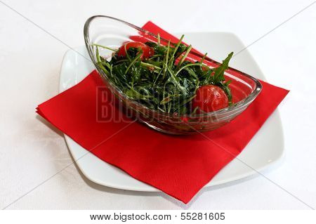 Closeup scene with ruccola salad