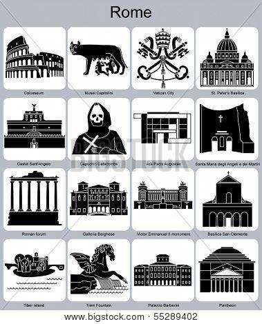 Landmarks of Rome. Set of monochrome icons. Raster illustration.