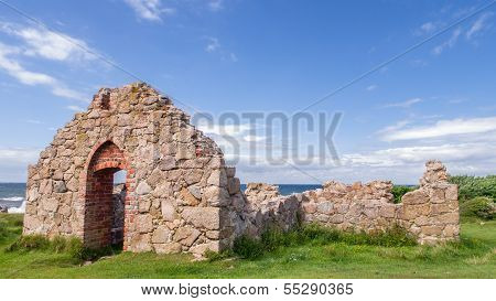 Ruined Medieval Catholic Chapel On The Northern Part Of Bornholm Called Salomon's Chapel