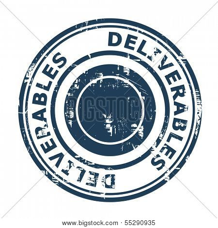 Deliverables concept stamp isolated on a white background.