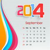 New Year 2014 September month calendar.  poster
