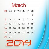 New Year 2014 March month calendar.  poster