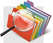 colourful folders and metallic magnifier glass vector poster