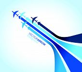 a set of four blue airplanes with arrows poster