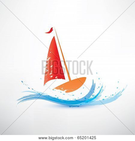 Yacht And Ocean Wave Symbol